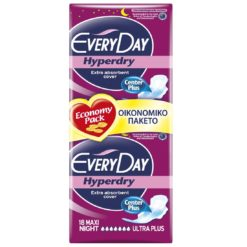 Every Day Hyperdry Maxi Night Ultra Plus Σερβιέτες 18 Τμχ