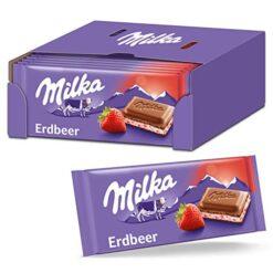 Milka Strawberry Yogurt Σοκολάτα 100gr (Συσκευασία 22 Τεμαχίων)