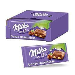 Milka Whole Hazelnuts Σοκολάτα 100gr (Συσκευασία 17 Τεμαχίων)