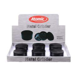 Atomic All Black Μεταλλικός 50mm 3 Θέσεων Τρίφτης Καπνού (Συσκευασία)