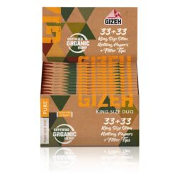 Gizeh Duo Pure King Size Slim Χαρτάκια + Tips 33 Φύλλα (Συσκευασία 25 Τεμαχίων)